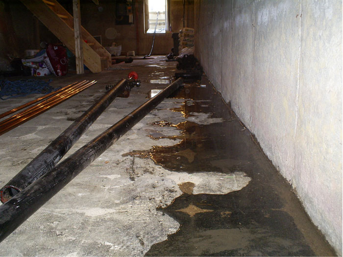 basement waterproofing cold joint seepage leaking floor cracks